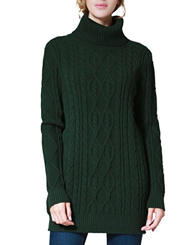 PrettyGuide Women's Long Sweater Turtleneck Pullover Tunic Sweater Tops L Green