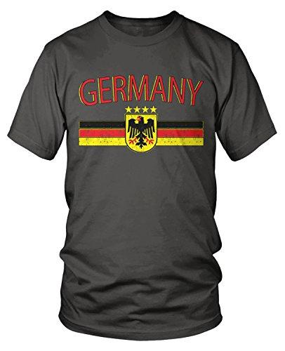 Amdesco Men's Germany Flag and Eagle Crest, German Flag T-Shirt, Charcoal Grey Medium