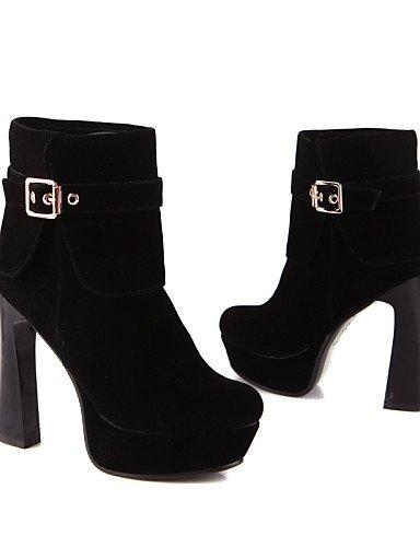De Xzz Botas Vestido Zapatos Mujer Cn39 us8 Punta Red us5 Vellón Black Uk3 A Moda Tacón Spool La Eu39 Redonda Rojo Negro Cn34 Uk6 Eu35 5q5fPWF