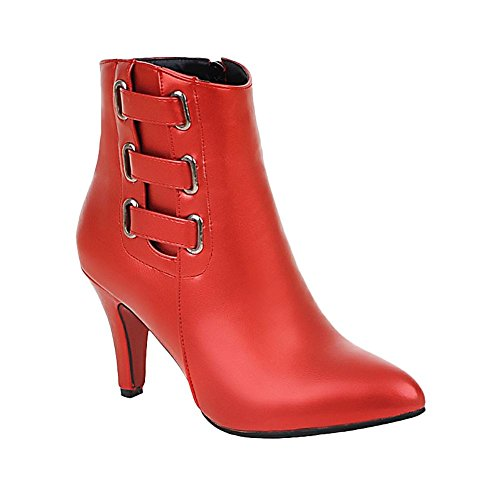 Stylish Heel Zip Fashion Boots Red Carolbar Pointed Women's Martin High Toe TEaqax
