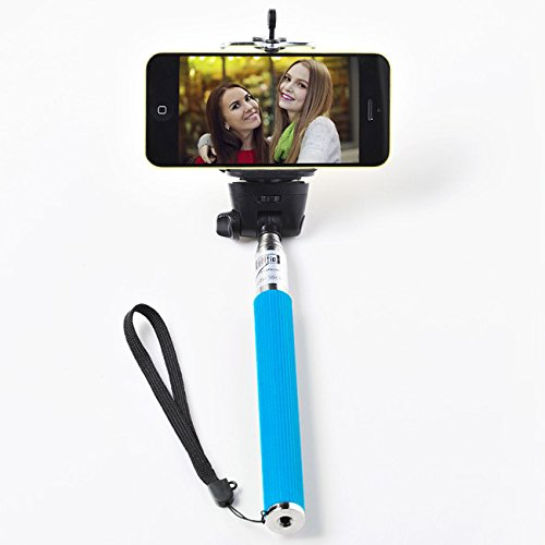 selfie stick for all smart phones, monoipod wired Self-portrait Monopod Extendable Selfie Stick with built-in Remote Shutter for iPhone 6, iPhone 5S, Samsung Galaxy S6 S5, Android, blue