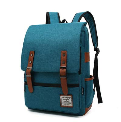 Kraptick Canvas Vintage Backpack for Laptop with Black Zipper, Canvas VintageTravel Backpack for Women Men, Canvas Vintage School College Backpack Fits 15 inch Notebook (Peacock Blue)