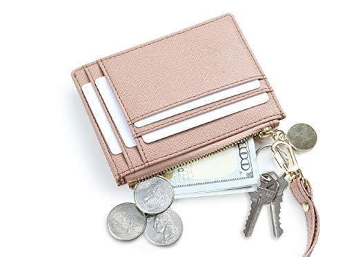 SERMAN BRANDS Slim Wristlet Card Case Holder Small RFID Blocking Wallet Change Purse for Women Keychain - Removable Wristlet Strap (Nu CH)