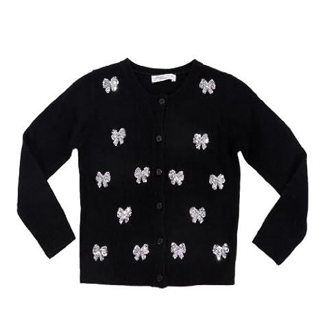 Pinc Premium Big Girls' Button Front Cardigan 4 Black (Pinc Premium Toddler)