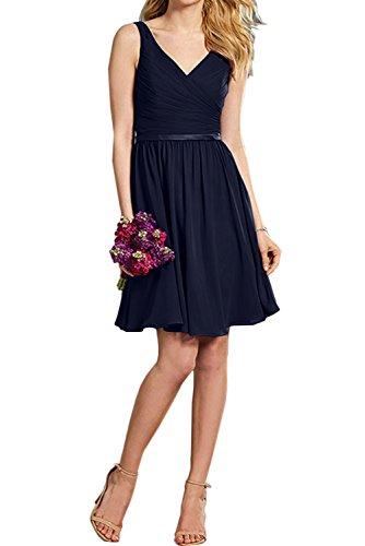 V Ivydressing Violett Abschlusskleider Chiffon 2017 Falte Abendkleider Partykleider Neu Cocktailkleider Suess Navy Neck Kurz Band AAqpY