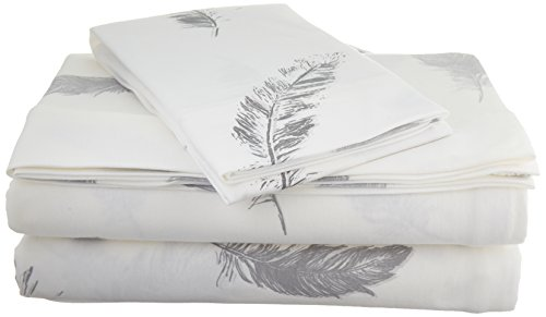 Brielle Fashion 100% Cotton Jersey, Twin/Twin XL Sheet Set, Feathers