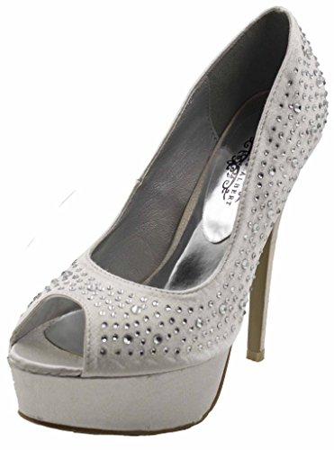 Charles Albert Women's Alessandra Peep Toe Studded with Rhinestone Platform and Heel Pump in Silver Size: 8.5 (Suede Peep Platform Pumps Toe)