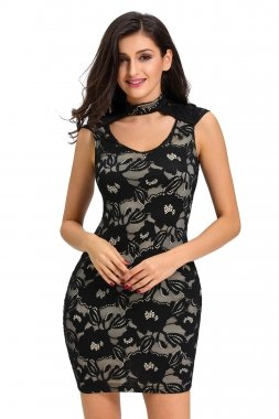 edb6b5368ea Black Floral Lace Nude Illusion Peep Hole Dress Size 16-18  Amazon.co.uk   Clothing