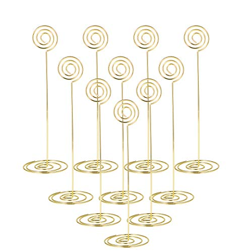 Place Card Holder 8.6 Inch Table Number Card Holders Table Picture Photo Holder Stand Wire Memo Holder clips Menu Note Name Holders for Wedding Party- 10pcs (Gold 23cm)