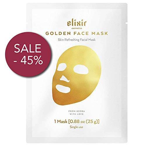 Elixir Cosmetics 24K Gold Korean Collagen Face Mask - Anti-Aging & Moisturizing Peel Off Facial Sheet Mask - 1 Pack