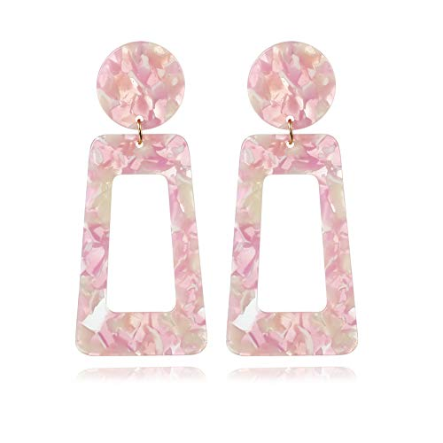 Gada Leopard Big Square Hoop Earrings Acrylic Acid Acetate Board Drop Square Earrings (Flower)