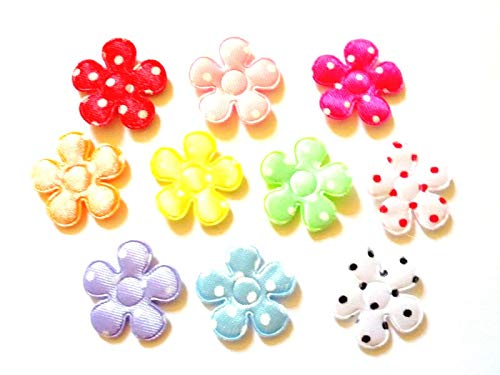 100 Pcs Satin dot Flower Padded Appliques Mix Colors Size 20 Mm