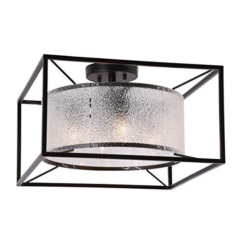 Alice House 16.5″ Ceiling Light, 4 Light, Semi-Flush Mount, Brown Finish with Diamond Glass, Farmhouse Lighting Fixture for Kitchen, Dining Room, Foyer, Bedroom, Hallway AL8061-S4