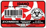 Idaho Zombie Hunting Permit Sticker Size: 4.95x2.95 Inch (12.5x7.5cm) Cut Dec...