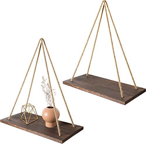 Mkono Wall Wood Floating Shelves Hanging Swing With Jute Rope Rustic Home decor, Set of 2 by Mkono