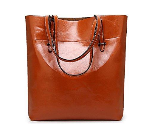 Kecartu Women's Vintage Top Handle Satchel Handbags Shoulder Bag Totes Purse Brown (Brown Patent Leather Bag)