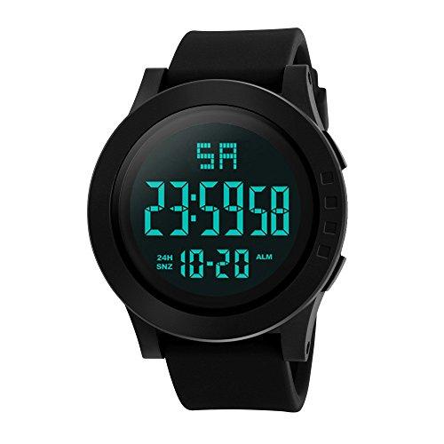 Hattfart Fashion Digital Electronic Waterproof Military LED Sport Date Wrist Quartz Watch Alarm Stopwatch ()