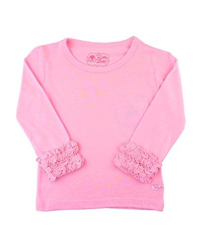 RuffleButts Little Girls Ruffled Long Sleeve Undershirt Tee - Pink - (Candy Buttons Costume)