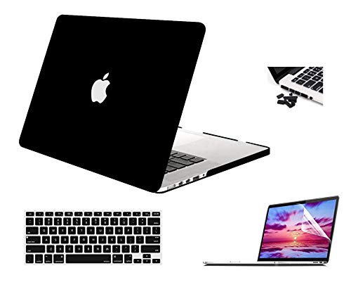 "MIDKART® Matte Coal Black Case for MacBook Pro 13"" Inches Model A1502 / A1425 (Release 2015 to 2012) Retina Display Hard Shell Cover with Silicon Key Guard, Dust Plugs & Clear UHD Screen Protector"