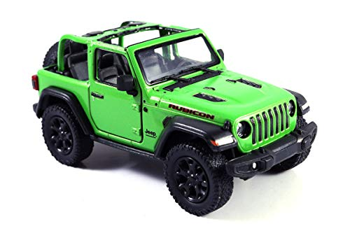 (HCK Jeep Wrangler Rubicon 4x4 Convertible Off Road Exploration Diecast Model Toy Car Green)