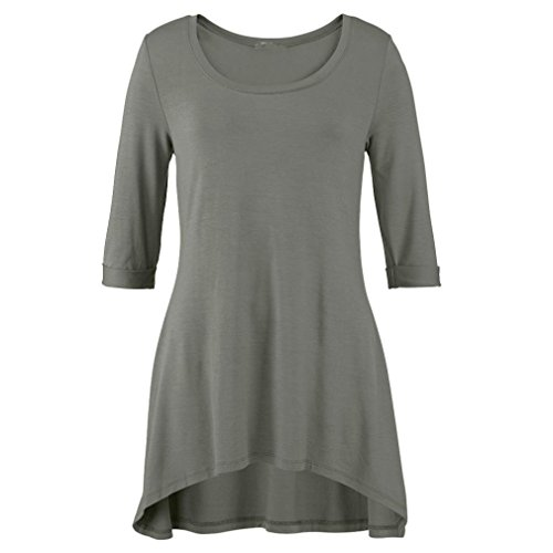 Top Verde OverDose Mujer Blusas 4 3 Irregular Mangas Cuello O para vvUwxrq8