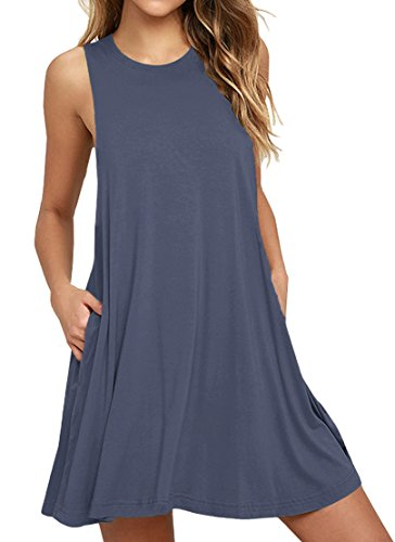 WEACZZY Women Summer Sleeveless Pockets Casual Swing T Shirt Dresses Beach Cover up Plain Pleated Tank Dress (M, 01 Purple Gray) ()
