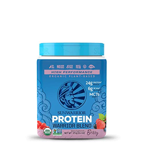 Sunwarrior - Warrior Blend, Plant Based, Raw Vegan Protein Powder with Peas & Hemp, Berry, 15 Servings