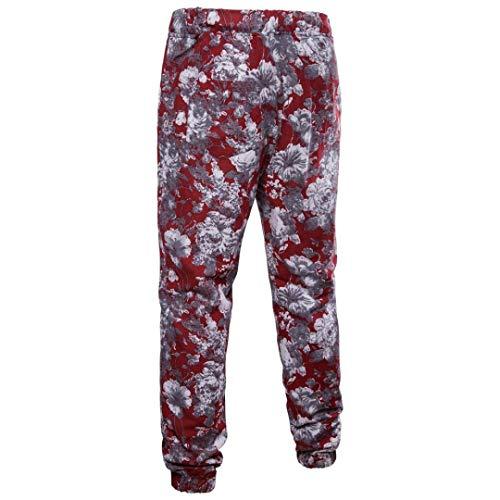 Realdo Clearance Mens Fashion Floral Print Trousers Sweatpants Elastic Waist Creative Comfy Pants(Medium,Red) by Realdo (Image #1)