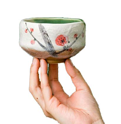 Authentic Japanese Traditional Tea Ceremony Matcha Bowl Chawan Textured Glaze Floral Design Handcrafted in Japan (Plum Blossom) by Hinomaru Collection (Image #2)