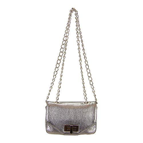 - Pietro Alessandro Gunmetal Silver Leather Crossbody Clutch Mini Handbag