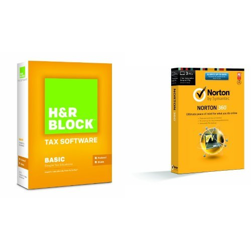Bundle: H&R Block At Home 2013 Basic + State with Norton 360 2014 - 1 User / 3 Licenses (Hr Block Tax Software 2014 Mac)