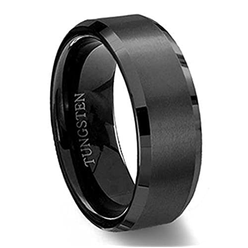 King Will BASIC Men Wedding Black Tungsten Ring 8mm Matte Finish Beveled Polished Edge Comfort Fit 10