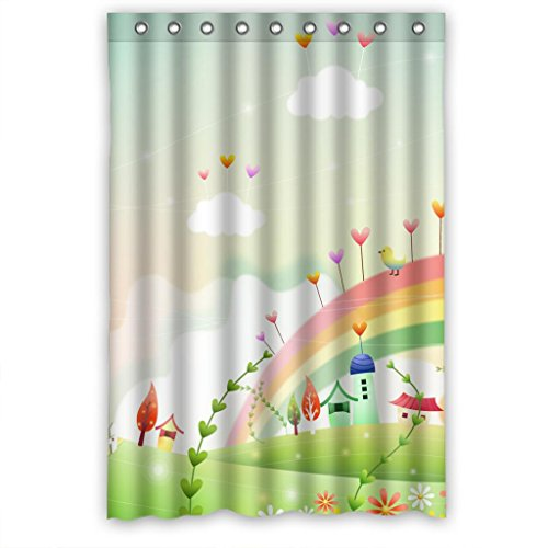 Personalized Clear Polyester Fabric Bathroom Shower Curtain 48¡Á72 Inches,Cute Fairy Tale Lodges And ()