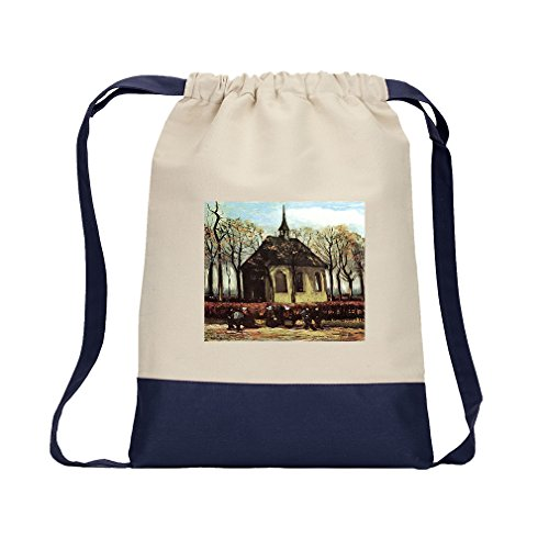 Congregation Church Nuenen (Van Gogh) Canvas Backpack Color Drawstring - Navy by Style in Print