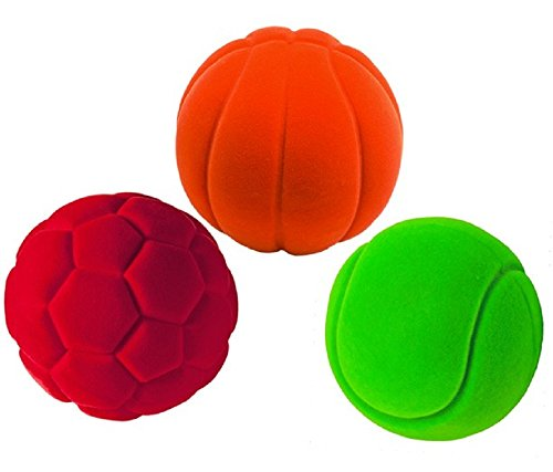 Rubbabu 100% Natural Rubber Foam Sensory Balls - Safe Soft Squishy Baby & Toddler Toy Ball with Fuzzy Tactile Surface- 3PK (Sports Balls)