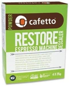 Cafetto Restore Espresso Machine Descaler, Coffee Machine Cleaning Powder for Use In Organic Systems (4 Single Use Packets) 41U38seD16L