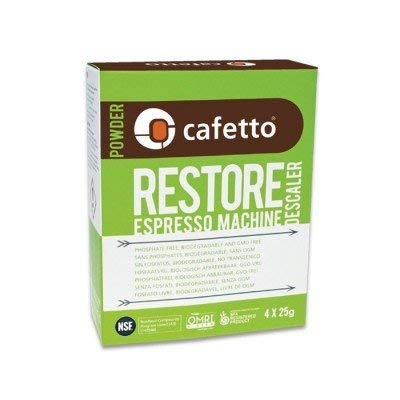 Cafetto Restore Espresso Machine Descaler, Coffee Machine Cleaning Powder for Use In Organic Systems (12 Single Use Packets)