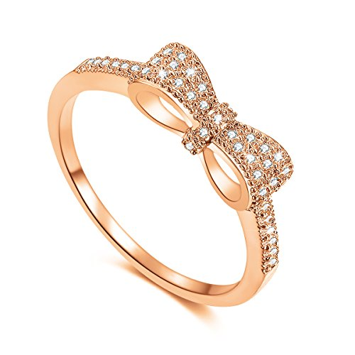 Serend SPILOVE 18k Rose Gold Plated White Cubic Zirconia CZ Band Bow Ring Fashion Women Jewelry, Size 7