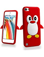 البطريق 3D الكرتون أبل آيبود تاتش 7 (الجيل السابع) / آيبود تاتش 6 (الجيل السادس) / تاتش 5 (الجيل الخامس) حالة الغطاء الأحمر.