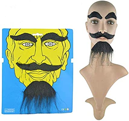 Halloween Fancy Dress Fake Beard Moustache Costume Facial Hair Party Cosplay NEW