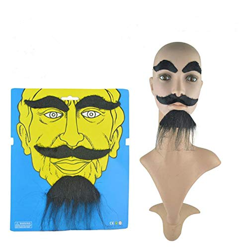 (LERORO Novelty Costumes Self Adhesive Fake Eyebrows Beard Moustache Kit Facial Hair Cosplay Props Disguise Decoration for Masquerade Costume Party Halloween & Christmas)