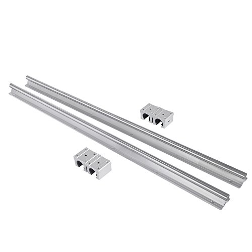 16-600mm SBR 2xLinear Guideway Rail and 4x Square Type Carriage Bearing Blocks For Automated Machines and Equipments ()