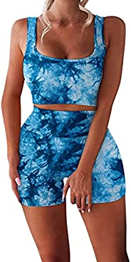 Workout Sets for Women 2 Piece Seamless Ribbed Crop Tank High Waist Shorts Yoga Outfits