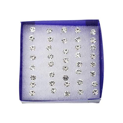 20set Pairs Silver Faux Rhinestone Clear Plastic Ear Studs ()