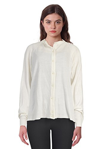 (Karen Scott Ribbed-Detail Crew-Neck Cardig Luxsoft White L)
