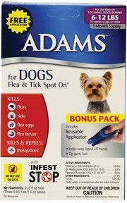 Adams Flea and Tick Control Topical Spot-On 3-Month For Dogs 6-12 Lbs. FREE APPLICATOR