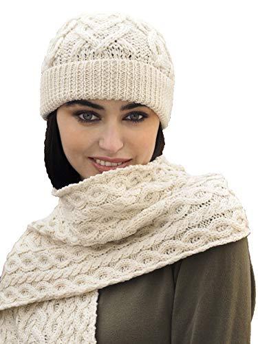 Aran Crafts Wool Heart Pattern Soft Scarf 9