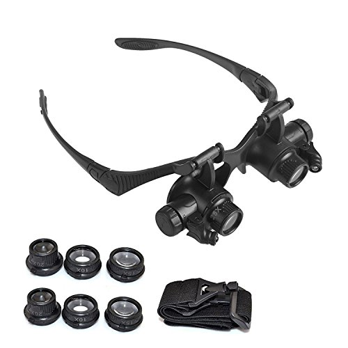 391e22719845 Watch Repair Magnifier ONEVER Headband Jeweler Magnifying Glasses Tool Magnifier  Eyewear Loupe Glasses 10X 15X 20X 25X with LED Light - Buy Online in Oman.