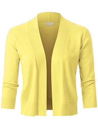 JSCEND Womens Classic 3/4 Sleeve Open Front Cropped Bolero Cardigan Yellow - Ribbed Striped Cap