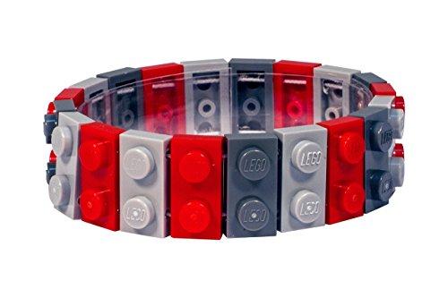 Dark Grey, Light Grey & Red Lego Stretch Bracelet